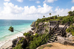 Caribbean beach at Mayan Ruins of Tulum - Tulum, Mexico Royalty Free Stock Images