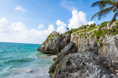 Caribbean beach at Mayan Ruins of Tulum - Tulum, Mexico Royalty Free Stock Photo