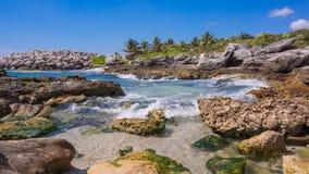 Caribbean beach in Mexico. Tropical beach in caribbean sea, Cancun, Mexico stock footage