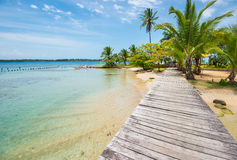 Caribbean beach with palm trees on Bocas del Toro islands in Panama. Perfect beach with wooden path and palm trees on Bocas del Toro in Panama stock photos