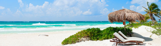 Caribbean beach panorama. Panorama of Beautiful Caribbean coast in Tulum Mexico Stock Photo