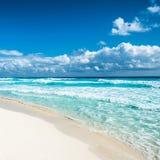 Caribbean beach panorama, Tulum, Mexico.  Royalty Free Stock Photos