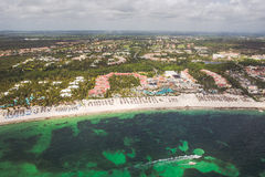 Caribbean beach. Of a resort seen from the helicopter Royalty Free Stock Photo
