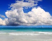 Caribbean beach and sun shining. Stock Photos