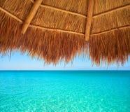 Caribbean beach sunroof in riviera Maya. Of Mayan Mexico Royalty Free Stock Images
