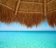 Caribbean beach sunroof in riviera Maya. Of Mayan Mexico Royalty Free Stock Photography