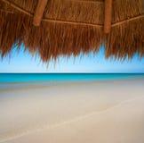 Caribbean beach sunroof in riviera Maya. Of Mayan Mexico Royalty Free Stock Photos