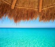 Caribbean beach sunroof in riviera Maya. Of Mayan Mexico Stock Photos