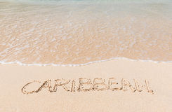 Caribbean beach with text in the sand Royalty Free Stock Image
