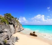 Caribbean beach in Tulum Mexico under Mayan ruins. Mayan Riviera stock photography