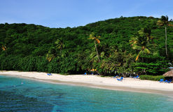 Caribbean beach. Vacationers soak in the sun and tropical beach on the island of Palomino in Puerto Rico Stock Photography