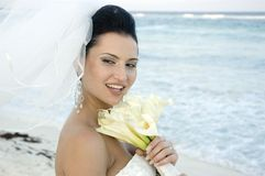 Caribbean Beach Wedding - Bride With Bouquet royalty free stock photo