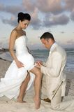 Caribbean Beach Wedding - Garter Belt. Groom removing the brides garter belt on the beach stock photo