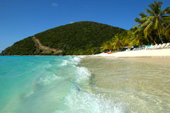 Caribbean beach. White sand beach on Jost van Dyke, British Virgin Islands in the Caribbean Royalty Free Stock Photography