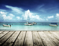 Caribbean beach and yachts Royalty Free Stock Images