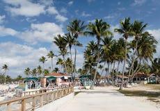 Caribbean Beachlife. Caribbean beach with palms and restaurant Stock Photo