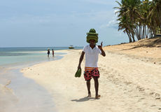 Caribbean Beautiful ocean and Hat seller. At Punta Cana Royalty Free Stock Photography