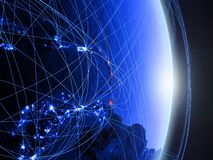 Caribbean on blue blue digital Earth. Caribbean on blue digital planet Earth with network. Concept of connectivity, travel and communication. 3D illustration royalty free stock photo