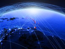 Caribbean on blue digital planet Earth with international network representing communication, travel and connections. 3D. Illustration. Elements of this image stock image