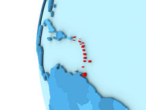 Caribbean on blue globe. Map of Caribbean on simple blue. 3D illustration Stock Photography