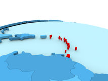 Caribbean on blue globe. Caribbean in red on simple blue political globe. 3D illustration Royalty Free Stock Photo