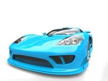 Caribbean blue modern super race car - closeup shot vector illustration