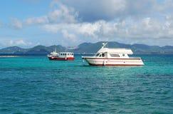 Caribbean Boats. Photo of small passenger ships near Saint-Martin Island Stock Images