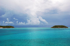 Caribbean Cays. Beautiful scene of caribbean sea and cays royalty free stock photos