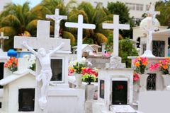 Caribbean cemetery catholic angel saints figures Royalty Free Stock Image