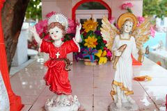 Caribbean cemetery catholic angel saints figures Royalty Free Stock Photos