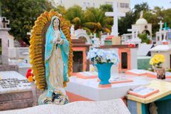 Caribbean cemetery catholic angel saints figures Royalty Free Stock Images