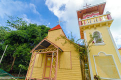 Caribbean Church. Yellow and pink church on the Caribbean island of San Andres y Providencia, Colombia Stock Image