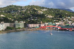 Caribbean City. Cruise ship coming into a caribbean city on the island of St Lucia Stock Photo