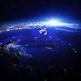 Caribbean city lights. Elements of this image furnished by NASA Royalty Free Stock Photography