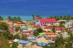 Caribbean city - St Lucia. Panorama of Caribbean city in St Lucia