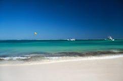 Caribbean coastline with boat in ocean Stock Image