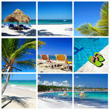 Caribbean collage. Beach with palm and grass umbrella royalty free stock photos