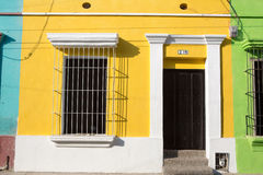 Caribbean Colorful buildings in Colombia. Colorful buildings in the historic center of Santa Marta, Colombia royalty free stock photo