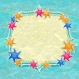 Caribbean Colorful Starfish and Label on Blue Background. Retro Caribbean Colorful Starfish and Label on Blue Background. Cartoon Marine Invitation Card Stock Photo