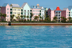 Caribbean condominiums. Luxury waterfront condominiums. Caribbean pastel colors Stock Photos
