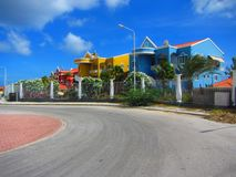 Caribbean condos Curacao Netherlands Antilles. View of brightly painted condos in the Caribbean Curacao Netherlands Antilles Stock Photo