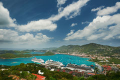 Caribbean cruise theme. Caribbean blue bay aerial view with cruise ships stock photo
