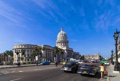 Caribbean Cuba Havana main road with Capitol View Stock Images