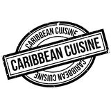 Caribbean Cuisine rubber stamp. Grunge design with dust scratches. Effects can be easily removed for a clean, crisp look. Color is easily changed Royalty Free Stock Photos