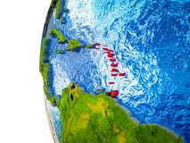 Caribbean on 3D Earth. Caribbean highlighted on 3D Earth with visible countries and watery oceans. 3D illustration stock illustration