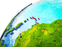 Caribbean on 3D Earth. Model with visible country borders. 3D illustration royalty free illustration