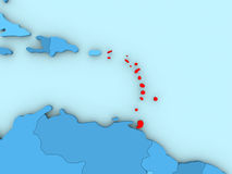Caribbean on 3D map. Country of Caribbean highlighted in red on blue map. 3D illustration Royalty Free Stock Image