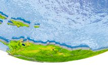 Caribbean in red on Earth model. Caribbean on 3D model of globe with real land surface, visible country borders and water in place of ocean. 3D illustration Stock Photography