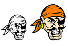 Caribbean danger pirate. In cartoon style in color and monochrome versions Stock Image