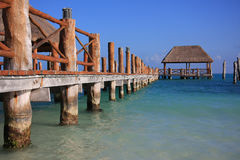 Caribbean dock. Beautiful dock in Caribbean tropical waters. Also available in vertical stock image
